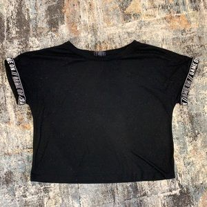 """Crop Top with """"Game On"""" on the sleeves Size Medium"""